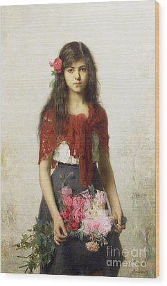 Young Girl With Blossoms Wood Print