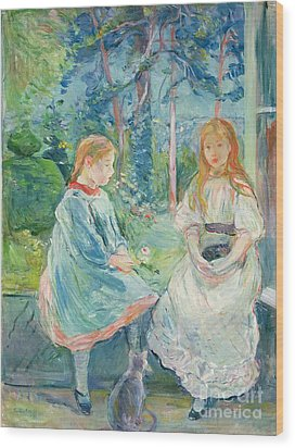 Young Girls At The Window Wood Print by Berthe Morisot