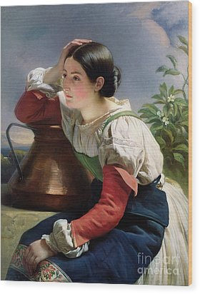 Young Italian At The Well Wood Print by Franz Xaver Winterhalter