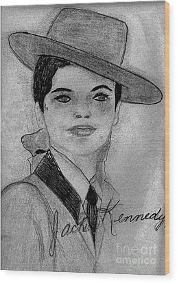 Young Jackie Kennedy Wood Print by Sonya Chalmers