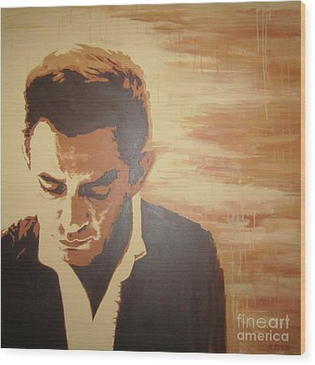 Wood Print featuring the painting Young Johnny Cash by Ashley Price