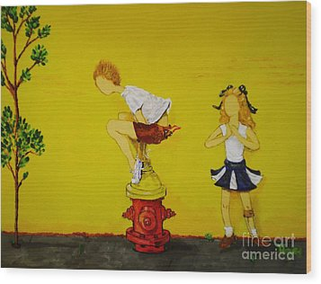 Young Love Series -  The Fire Plug Wood Print by Barbara Hayes