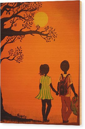 Young Love Series-the Walk Home Wood Print