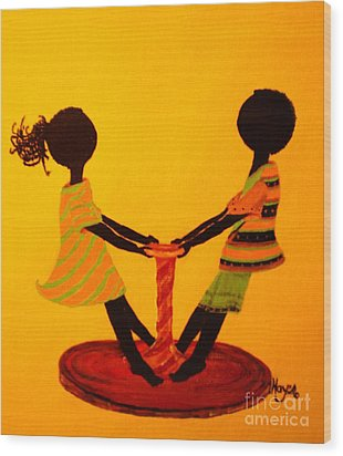 Young Love-twirling Wood Print by Barbara Hayes