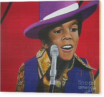 Young Michael Jackson Singing Wood Print by Chelle Brantley