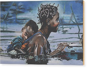 Young Mother And Child Wood Print by Andre Ajibade