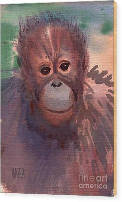 Young Orangutan Wood Print by Donald Maier