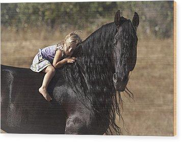 Young Rider Wood Print