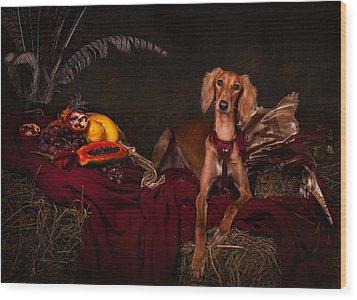 Young Saluki Dog With Fruits Wood Print