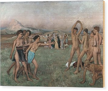 Young Spartans Exercising Wood Print by Edgar Degas