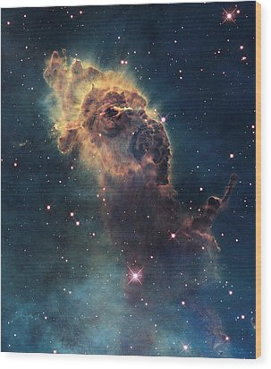 Young Stars Flare In The Carina Nebula Wood Print by Nasa/Esa