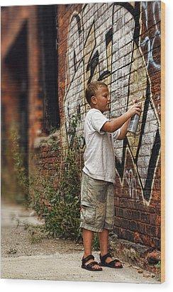 Young Vandal Wood Print by Gordon Dean II