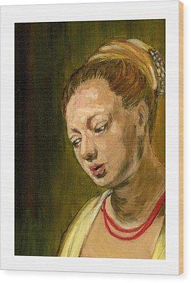 Young Woman Wood Print by Asha Sudhaker Shenoy