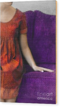 Young Woman In Red On Purple Couch Wood Print by Jill Battaglia