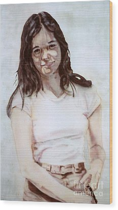 Young Woman Wood Print by Ron Bissett