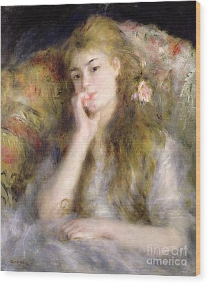 Young Woman Seated Wood Print by Pierre Auguste Renoir