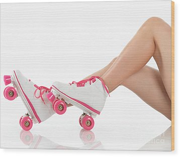 Young Woman Wearing Roller Derby Skates Wood Print by Oleksiy Maksymenko