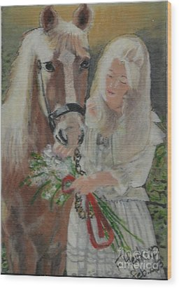 Young Woman With Horse Wood Print