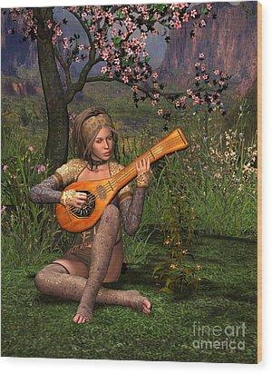 Young Women Playing The Lute Wood Print by John Junek