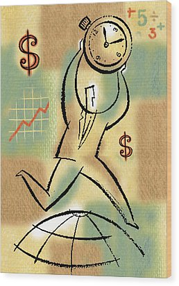 Wood Print featuring the painting Your Income by Leon Zernitsky