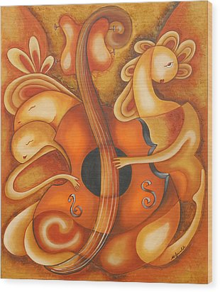 Your Music My Inspiration Wood Print by Marta Giraldo
