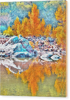 Yuba River Reflection Wood Print