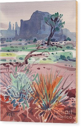 Yucca And Buttes Wood Print by Donald Maier