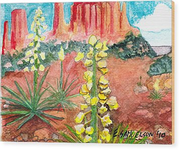 Yucca In Monument Valley Wood Print by Eric Samuelson