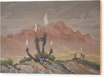 Yuccas In Bloom Wood Print by Maris Sherwood