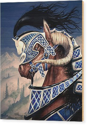 Wood Print featuring the painting Yuellas The Bulvaen Horse by Curtiss Shaffer