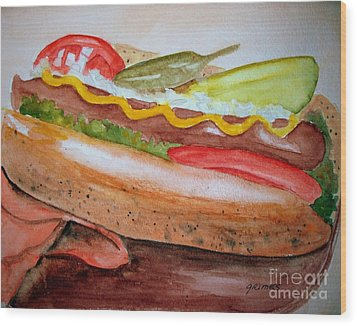 Yummy Chicago Dog Wood Print by Carol Grimes
