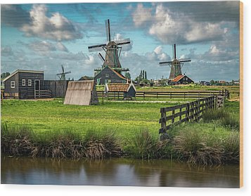 Zaanse Schans And Farm Wood Print by James Udall