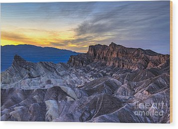Zabriskie Point Sunset Wood Print by Charles Dobbs