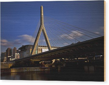 Zakim Bridge And Boston Garden At Sunset Wood Print by Rick Berk