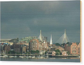 Wood Print featuring the photograph Zakim Bunker Hill Bridge by Carol Kinkead