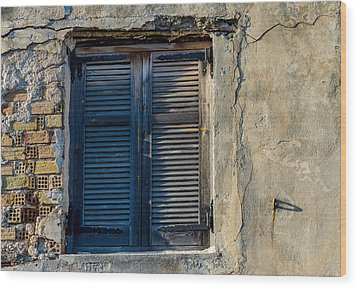 Zakynthos Town Window Wood Print
