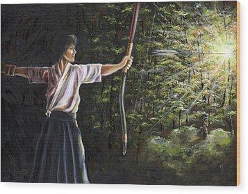 Wood Print featuring the painting Zanshin by Hiroko Sakai