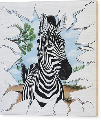 Wood Print featuring the painting Zany Zebra by Teresa Wing