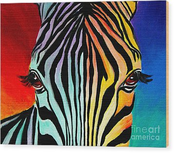 Zebra - End Of The Rainbow Wood Print