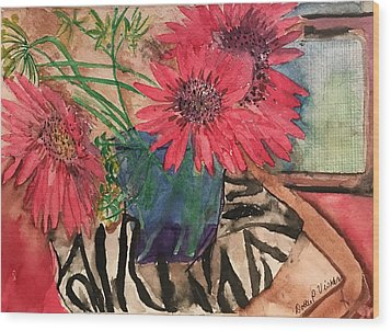 Zebra And Red Sunflowers  Wood Print