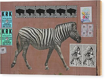 Wood Print featuring the photograph Zebra Collage by Art Block Collections