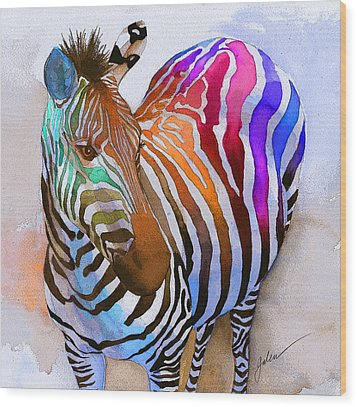 Zebra Dreams Wood Print