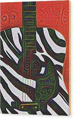 Zebra Guitar Rendering Wood Print by Bill Cannon