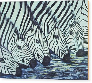 Wood Print featuring the painting Zebra Line by Donna Dixon