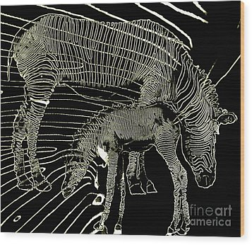 Wood Print featuring the photograph Zebra Momma And Baby  by Irma BACKELANT GALLERIES