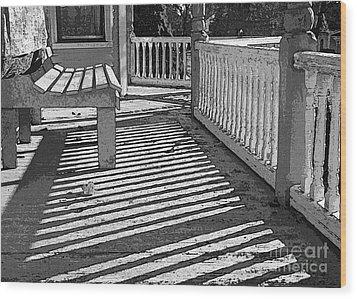 Zebra Porch Wood Print by Betsy Zimmerli