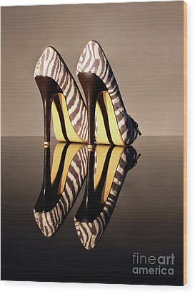 Wood Print featuring the photograph Zebra Print Stiletto by Terri Waters