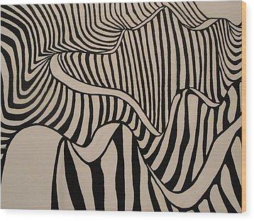 Zebra Road Wood Print by Stephen Ponting