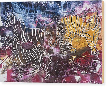 Wood Print featuring the painting Zebra by Sima Amid Wewetzer