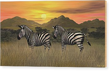 Zebra Sunset Wood Print by Walter Colvin